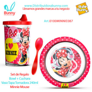 Set de Regalo Bowl + Cuchara Vaso Tapa Tomadora 240ml Minnie Mouse bel gioco