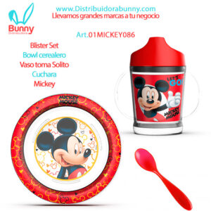 Blister Set Bowl cerealero Vaso toma Solito Cuchara Mickey bel gioco