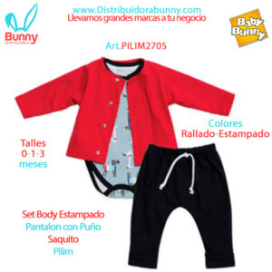 Set Body Estampado Pantalon con Puño Saquito Pilim
